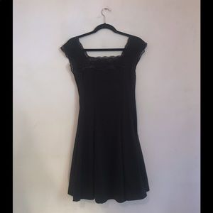 LBD Lace Black Skater Dress Cap Sleeve